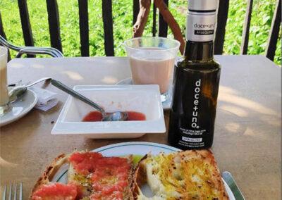 Desayuno tostadas con tomate y aceite